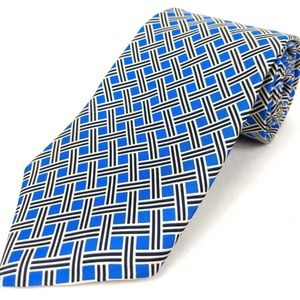 BERT PULITZER Tie Geometric Blue Gray Silk Tie